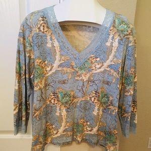 Vintage Liz Claiborne blue & beige lace top